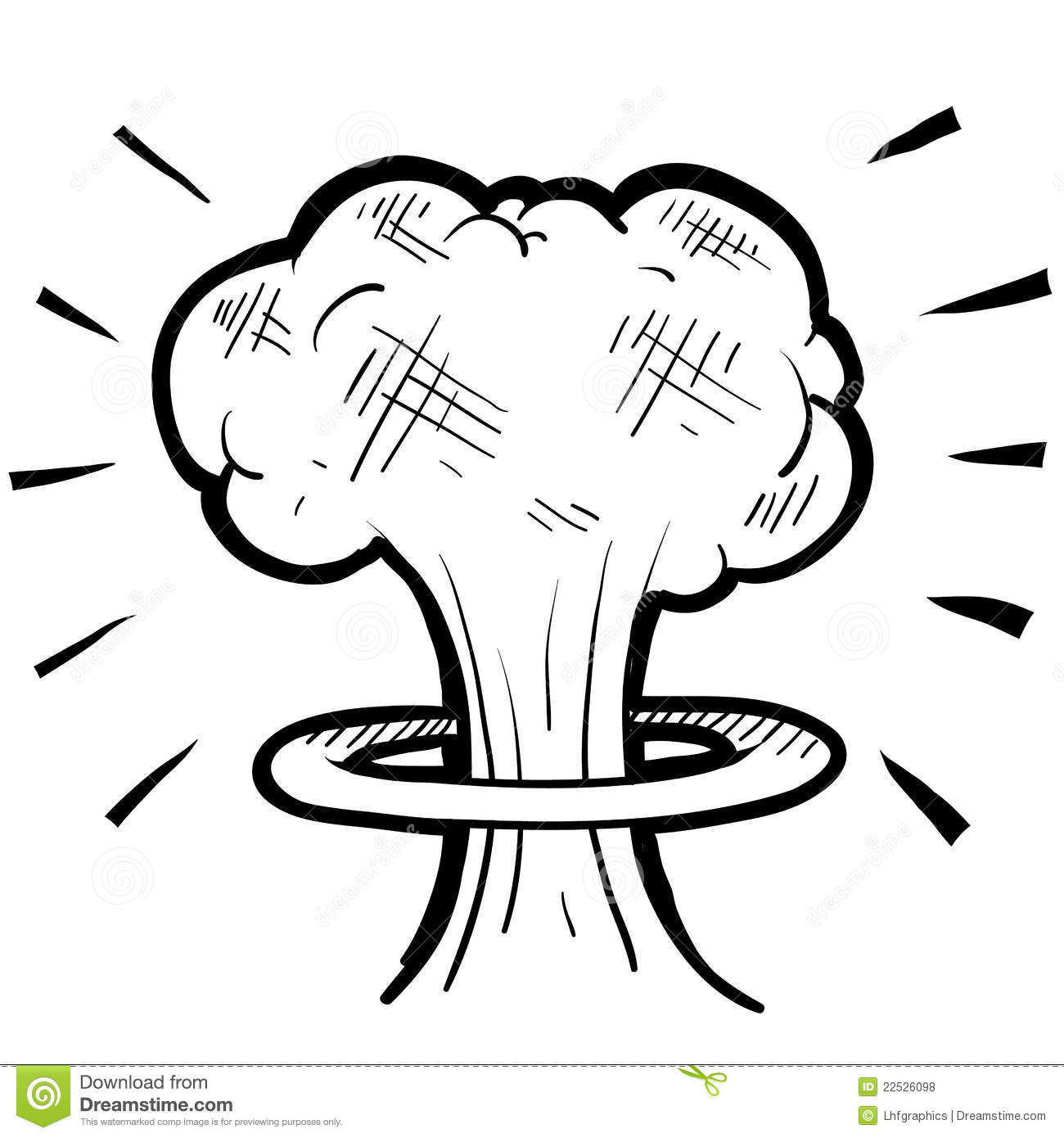 Nuclear Mushroom Cloud Sketch Stock Vector