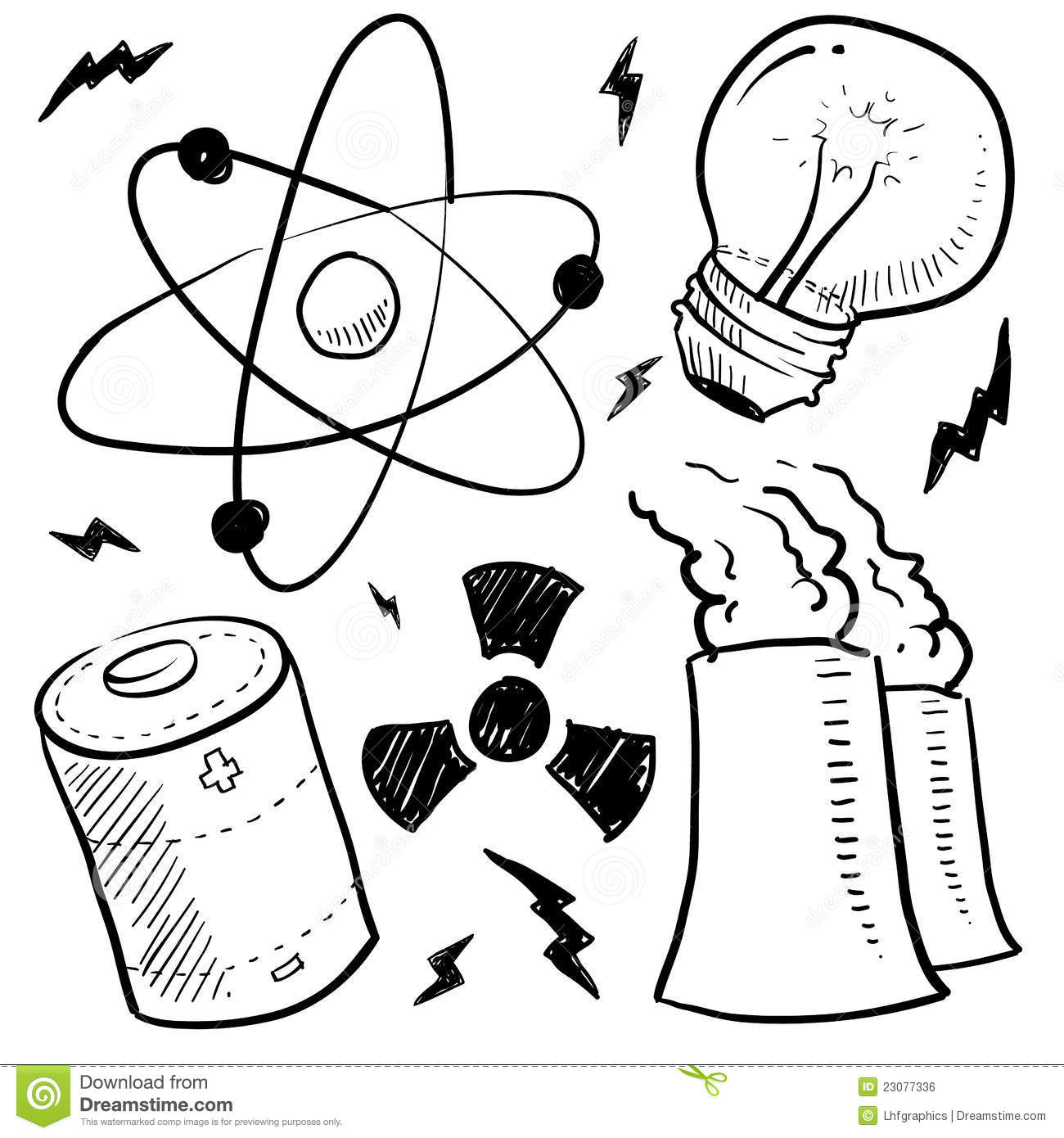 Nuclear Power Objects Sketch Stock Illustration