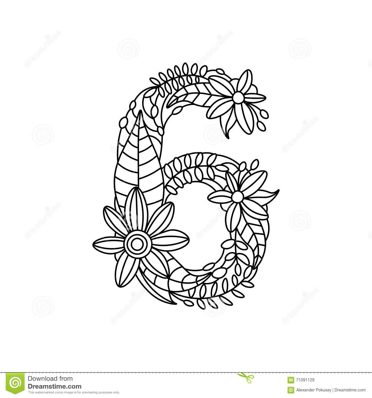 Number 6 Coloring Book For Adults Vector Stock Vector