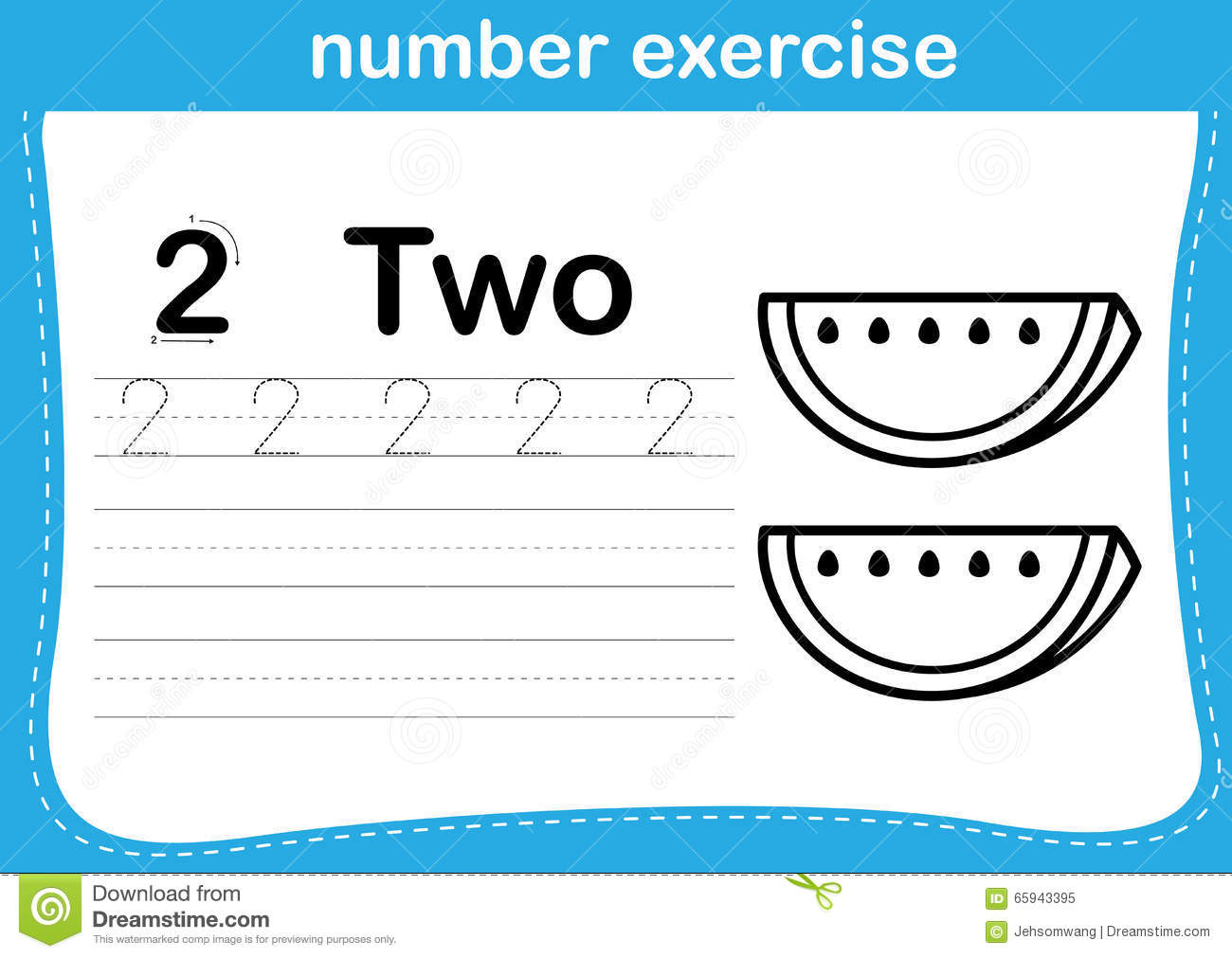 Number Exercise With Cartoon Coloring Book Illustration Stock Vector