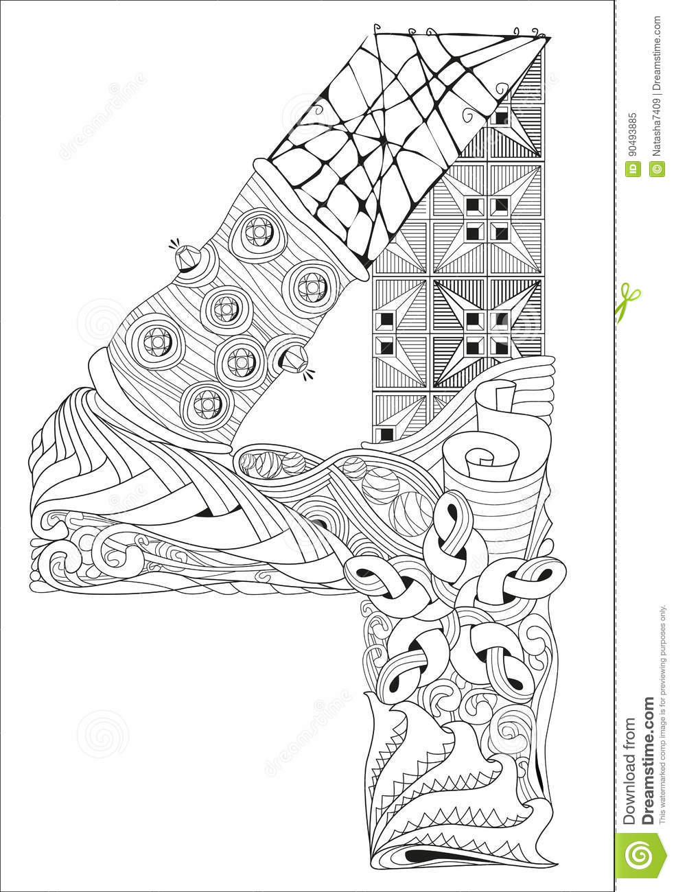 Number Four Zentangle. Vector Decorative Object Stock