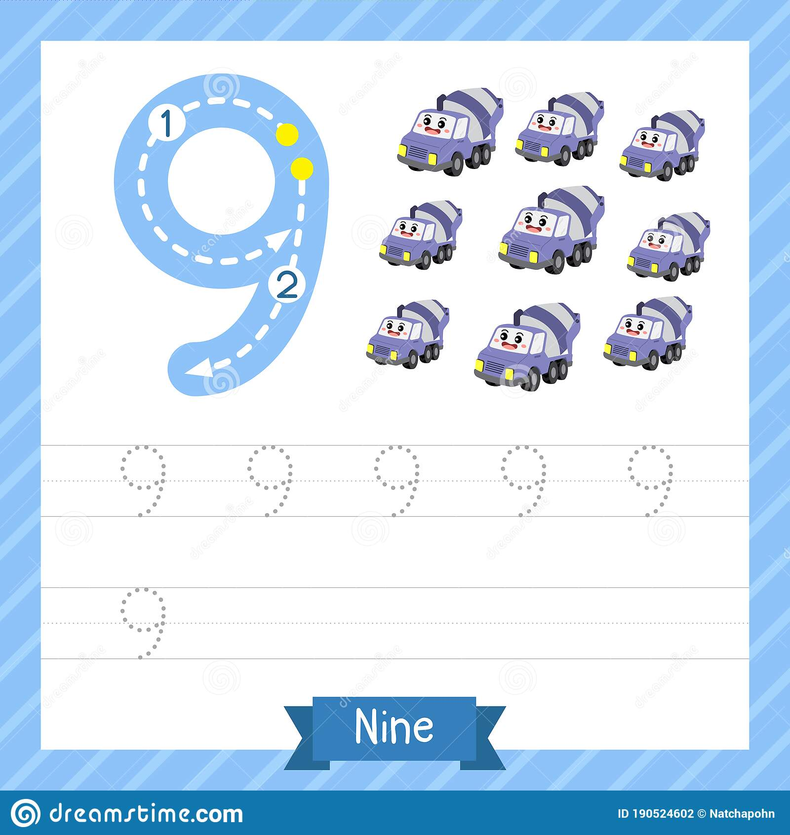 Number Nine Tracing Practice Worksheet With 9 Concrete