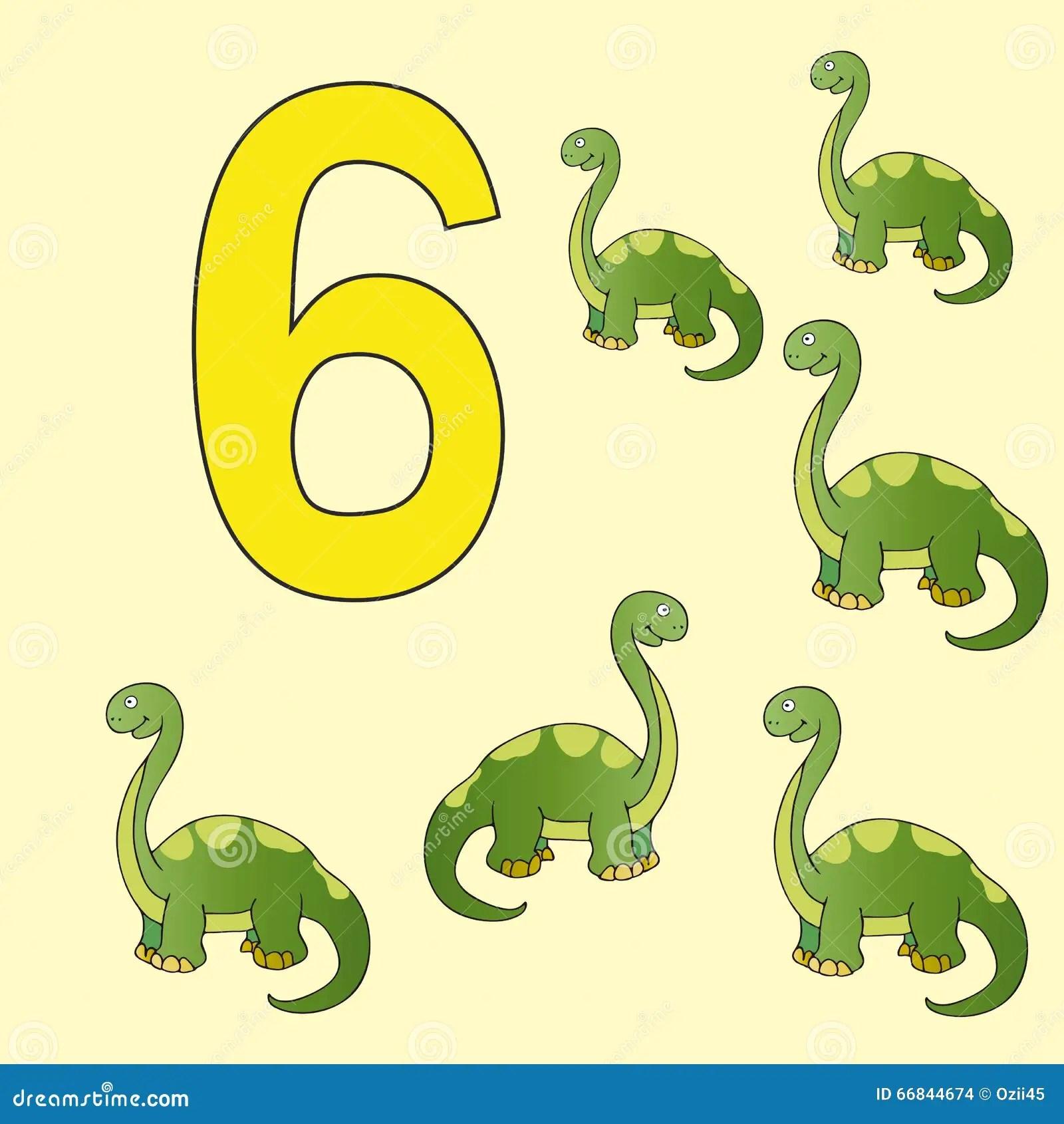 Number 6 Six Dinosaur Brontosaurus Stock Vector