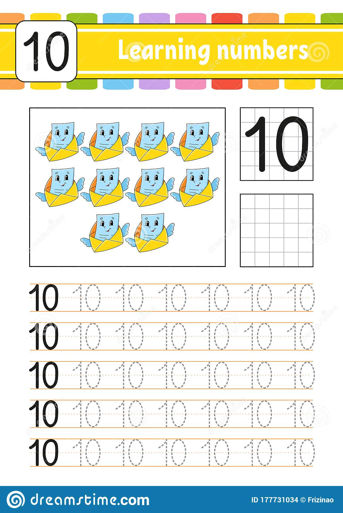 Number 10 Trace And Write Handwriting Practice Learning
