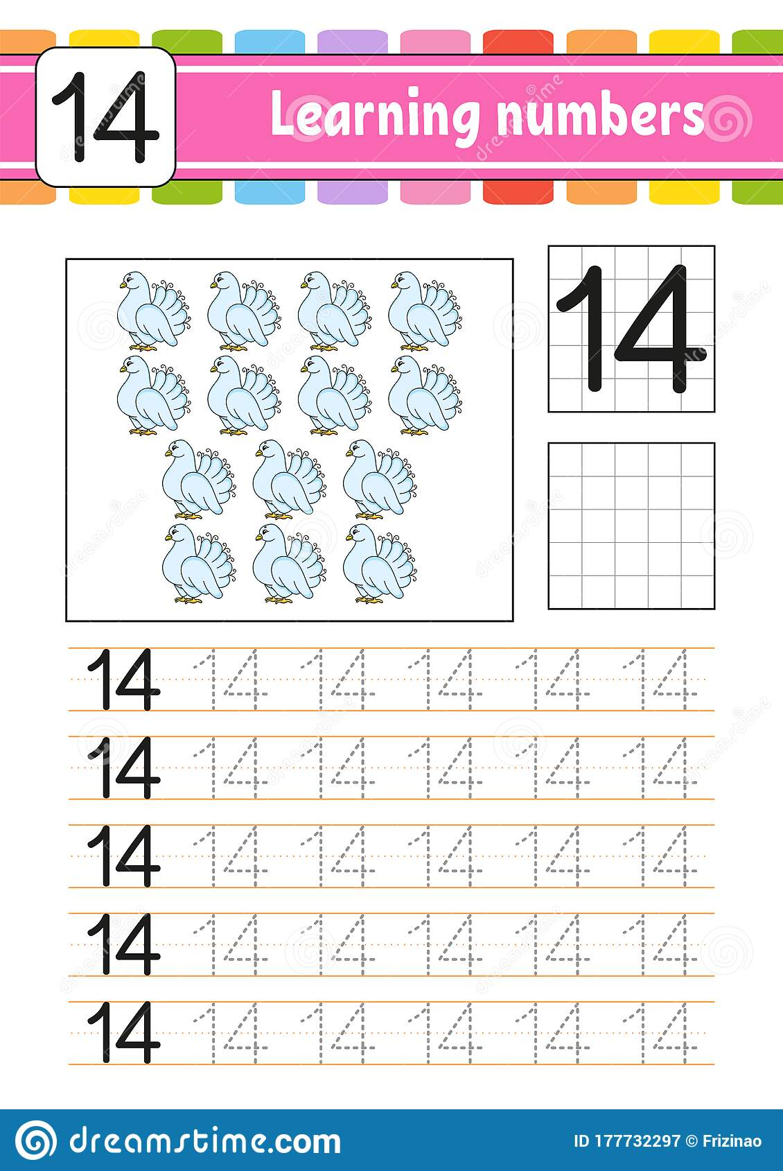 Number 14 Trace And Write Handwriting Practice Learning