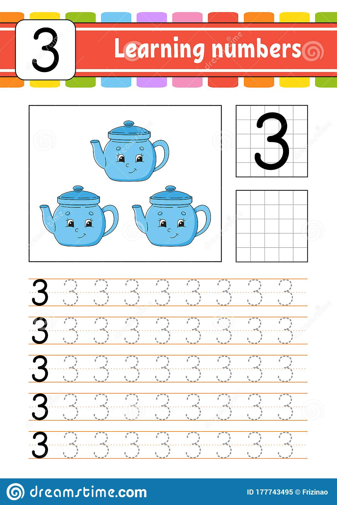 Number 3 Trace And Write Handwriting Practice Learning