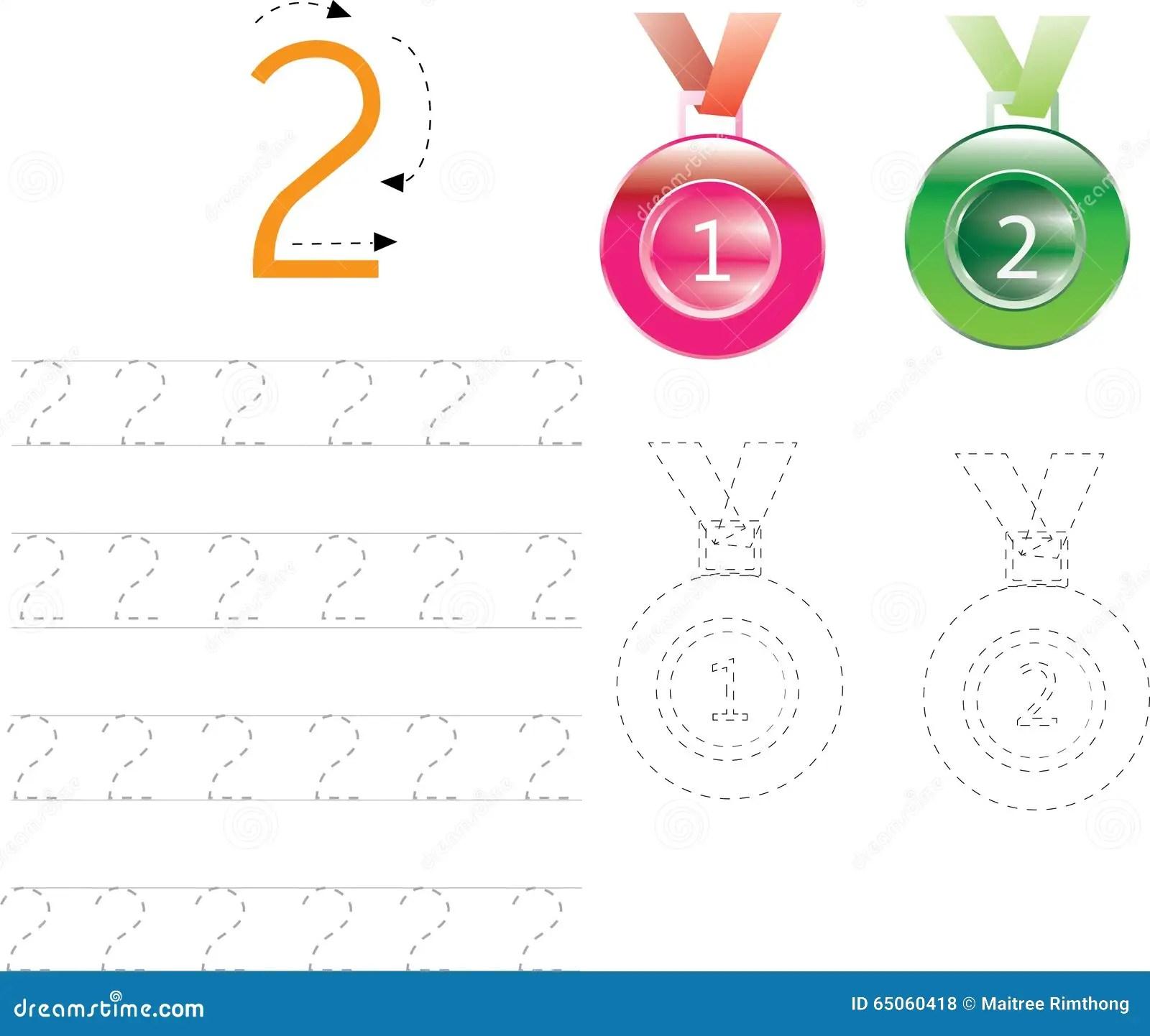 Number Tracing Worksheet Four 0 9 Stock Illustration