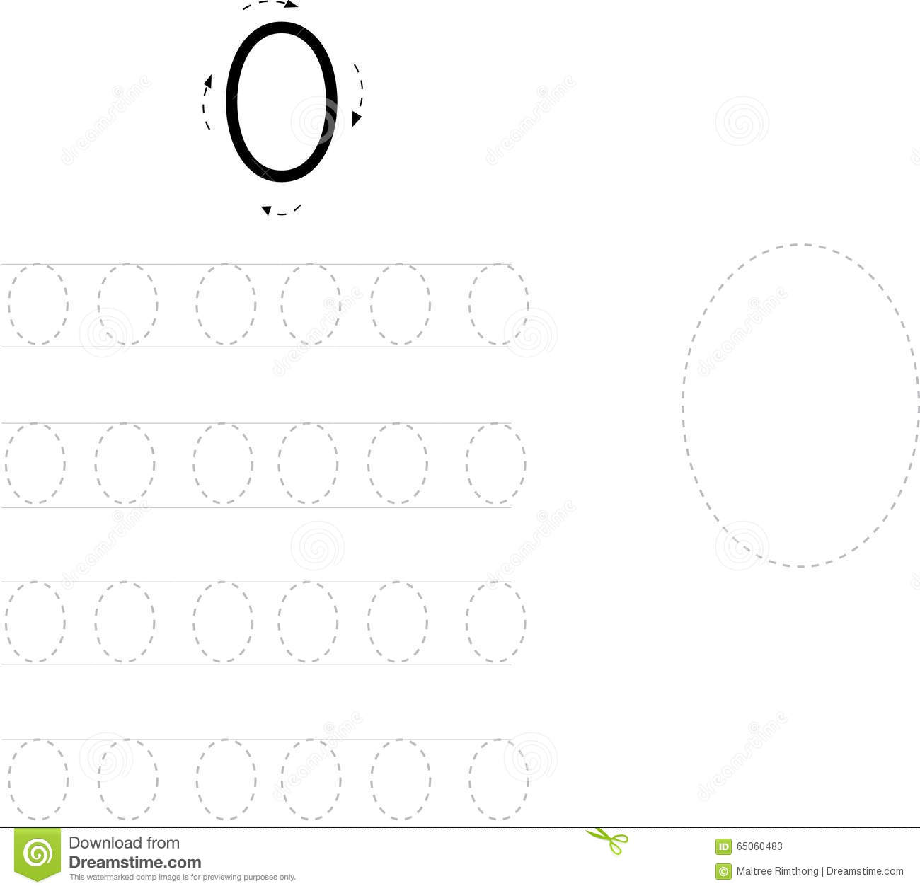 Number Tracing Worksheet Four 0 9 Stock Illustration