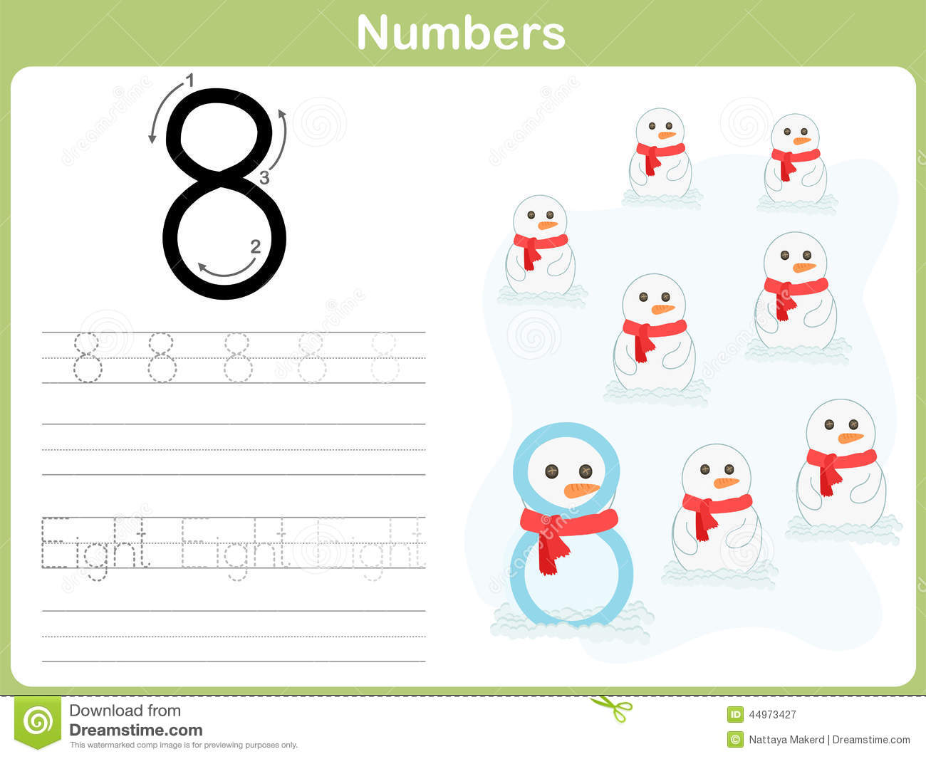 Number Tracing Worksheet Writing 0 9 Stock Vector