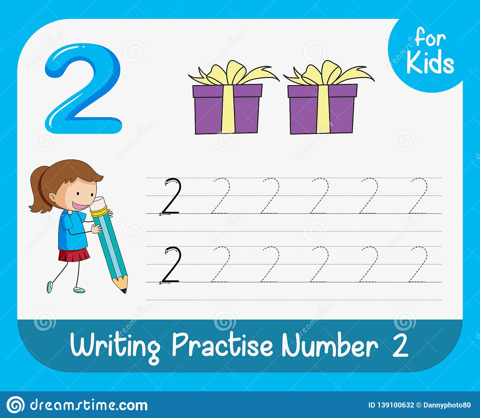 Number Two Tracing Worksheets Stock Illustration