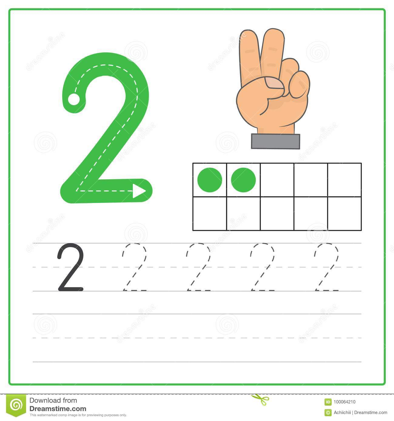 Number Writing Practice 2 Stock Vector Illustration Of
