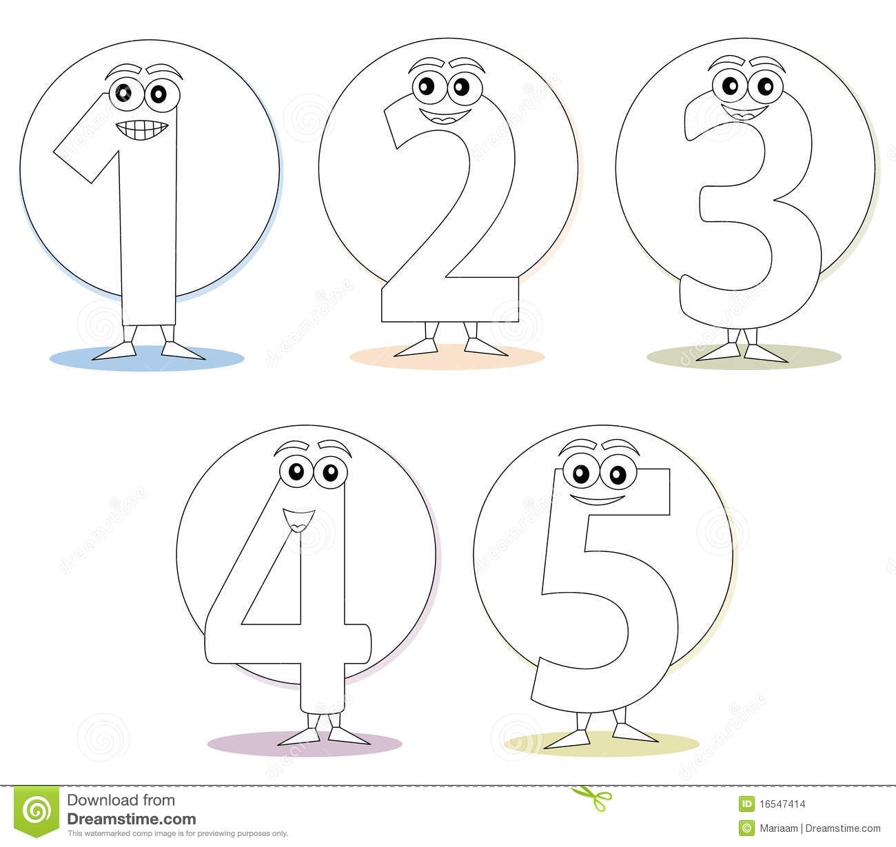 Numbers For Coloring Books Part 1 Stock Images