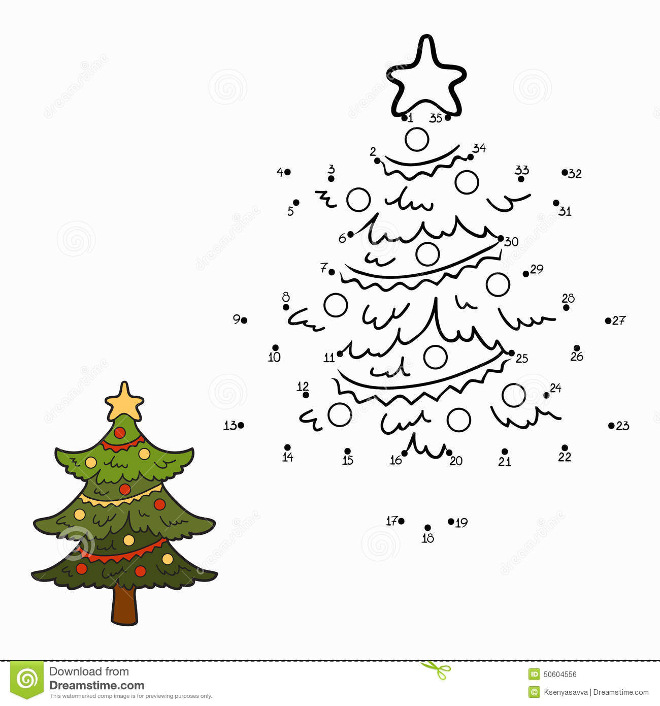 Numbers Game Christmas Tree Stock Vector