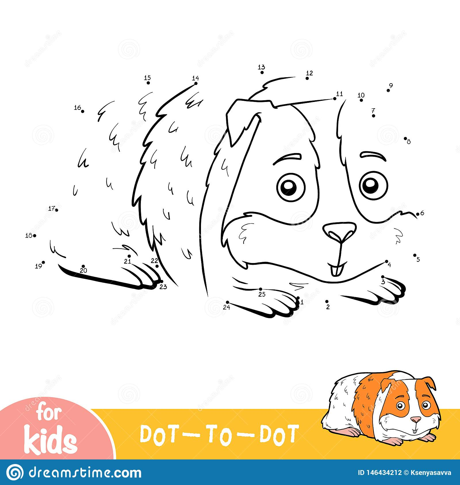Numbers Game Dot To Dot Game For Children Guinea Pig