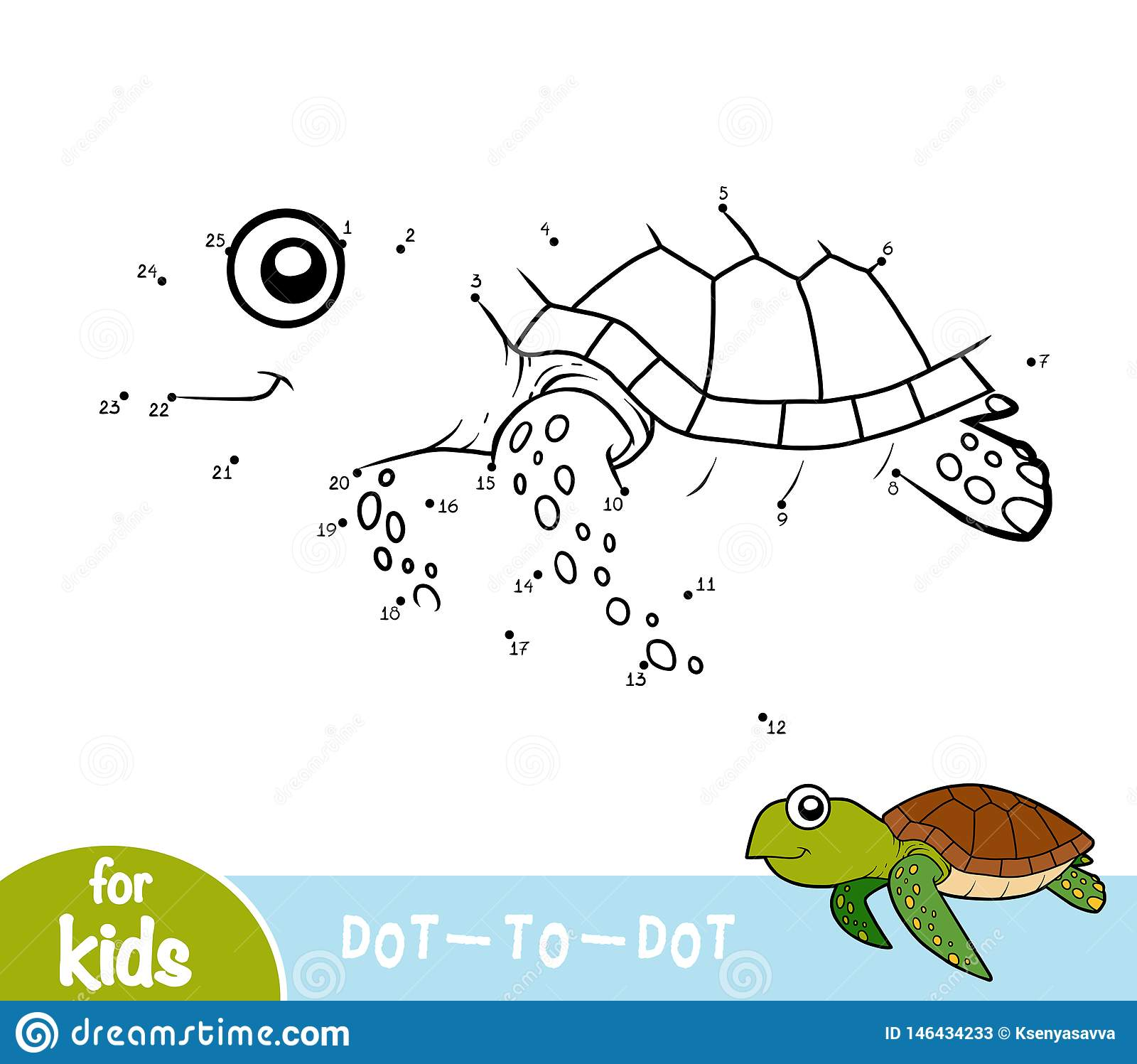 Numbers Game Dot To Dot Game For Children Turtle Stock