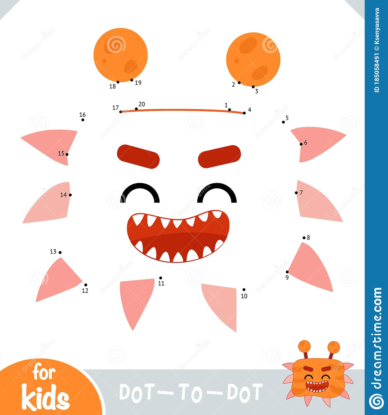 Numbers Game Dot To Dot Game For Children Cute Bacteria