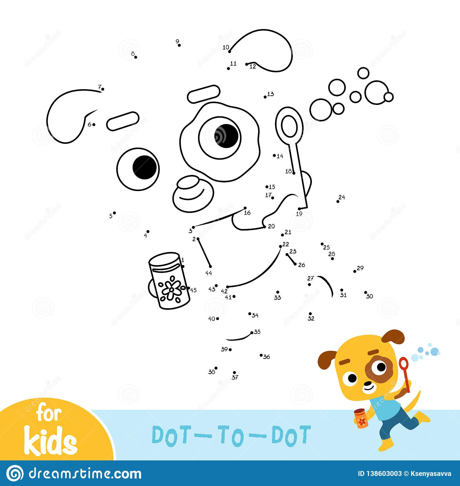 Numbers Game Education Dot To Dot Game Dog And Soap