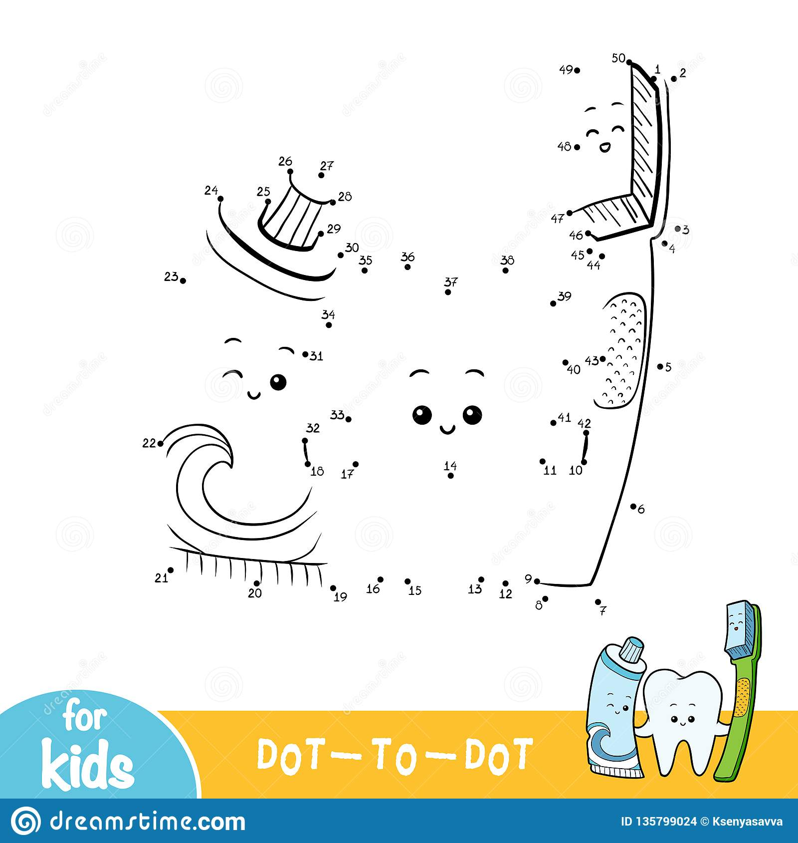 hight resolution of numbers game education dot to dot game for children tooth and toothbrush and toothpaste