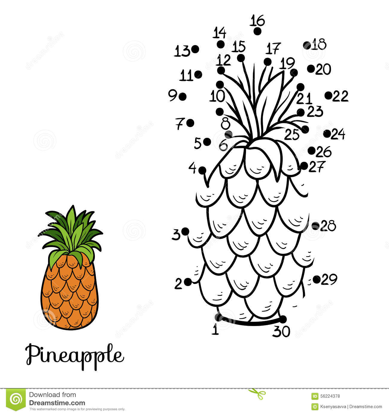 Numbers Game Fruits And Vegetables Pineapple Stock