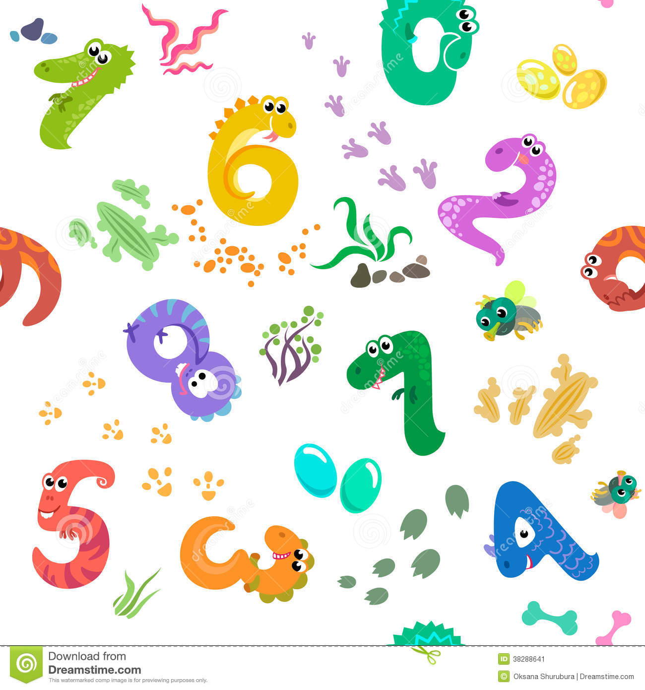 Numbers Like Dinosaurs Seamless Pattern Stock Vector
