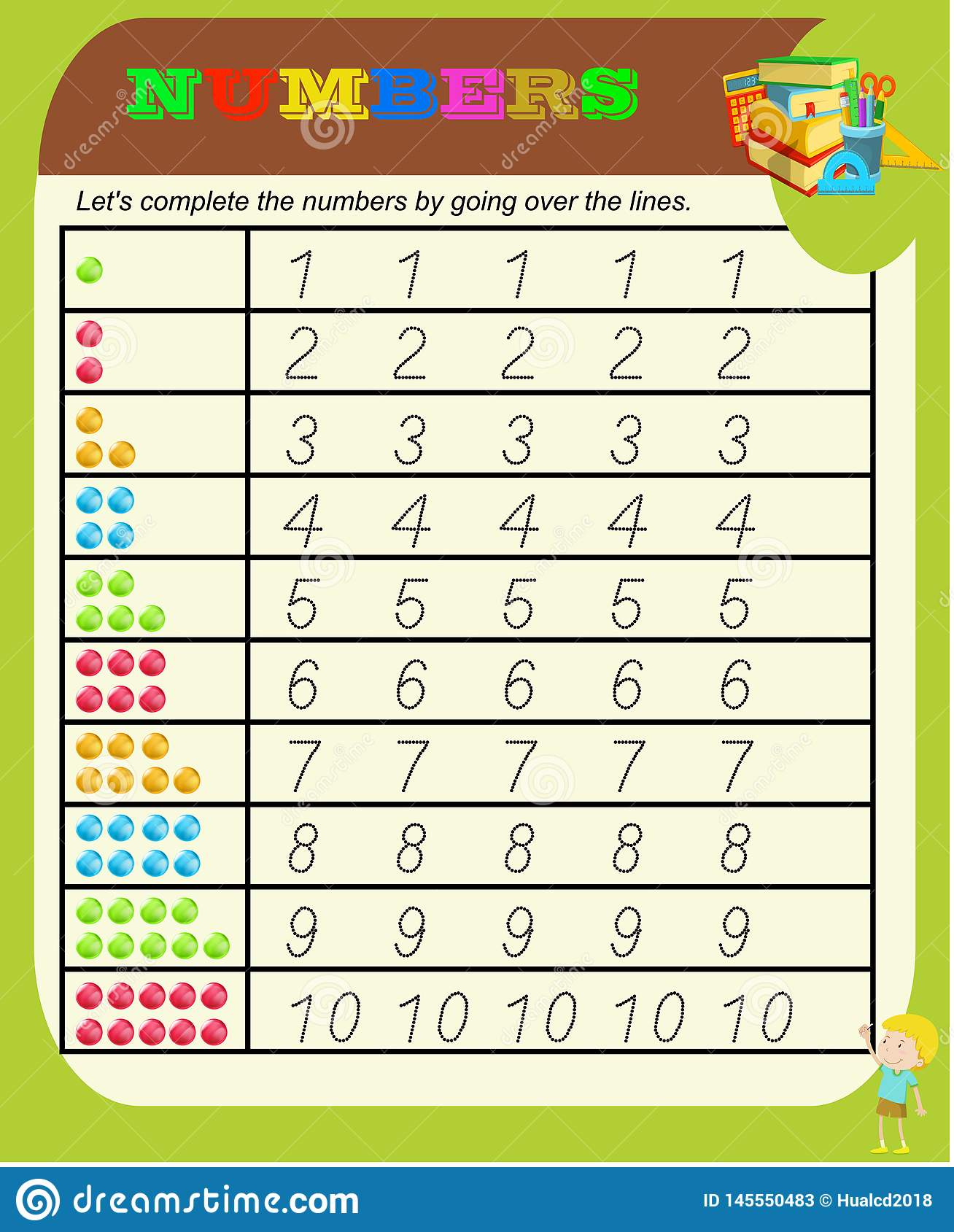 Numbers From 0 To 9 Handwriting Tracing Practice Sheet