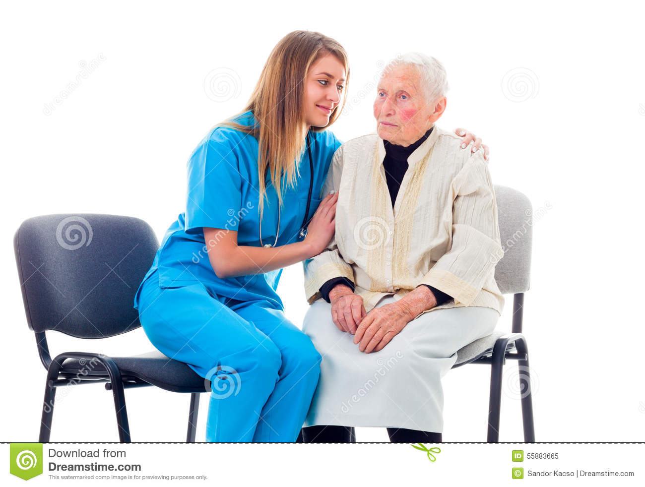 chairs for elderly assistance plush leather chair nurse consoling worried patient stock photo image 55883665