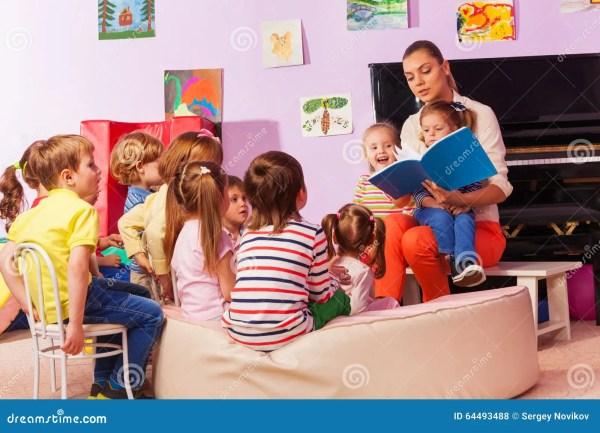 Nurse In Kindergarten Read Book Class Stock