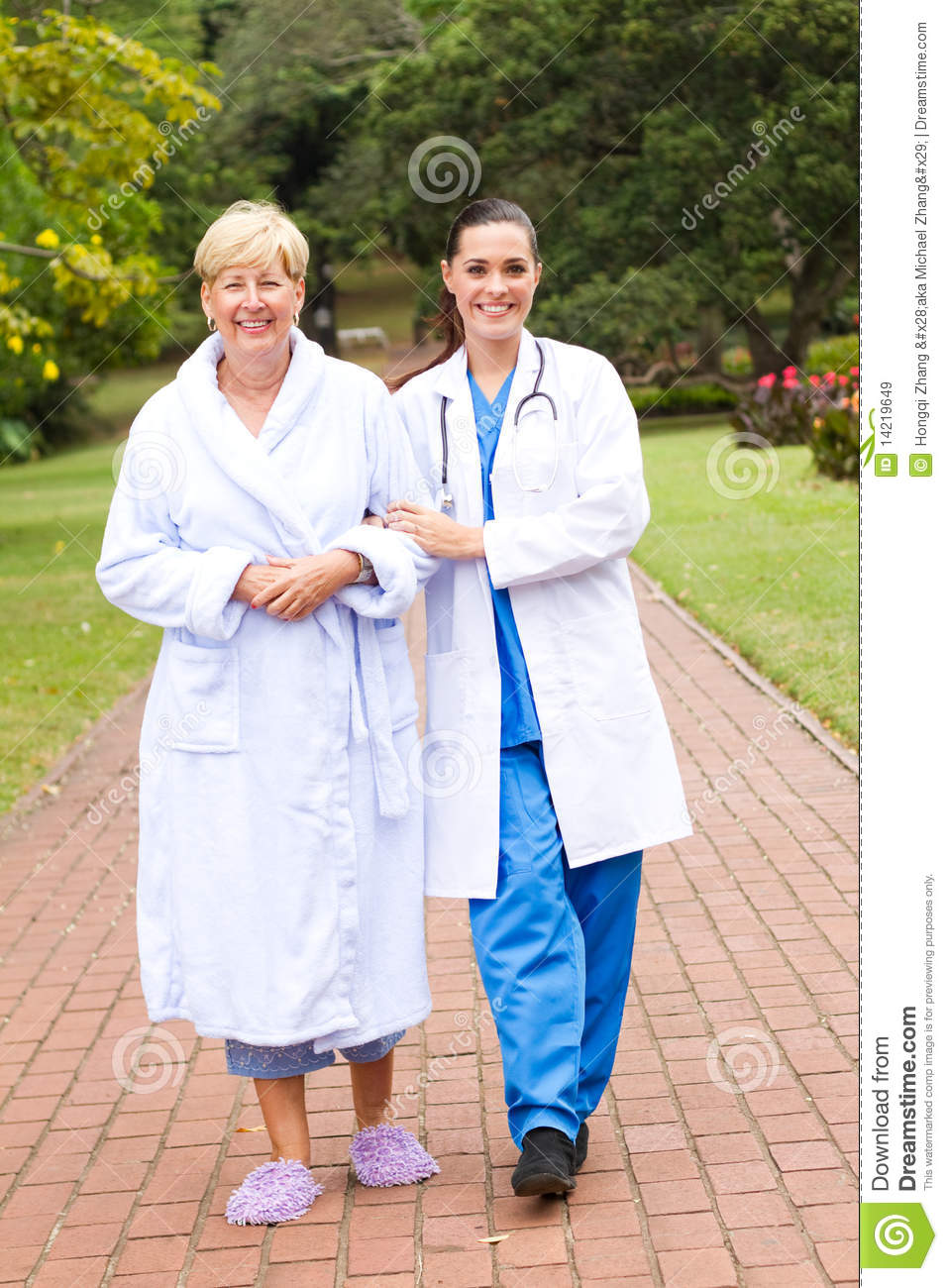 Nurse walk with patient stock image Image of attractive