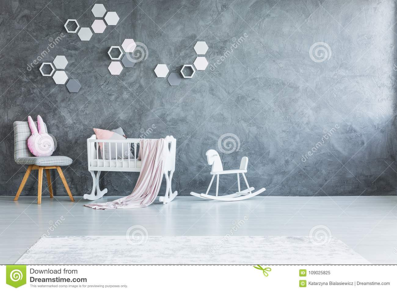 Wooden Rocking Chair For Nursery Nursery With Rocking Horse Stock Image Image Of Honeycomb 109025825