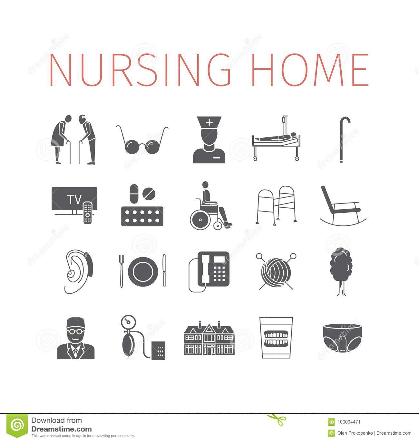 Nursing Home Icon. Medical Care For The Elderly. Symbols