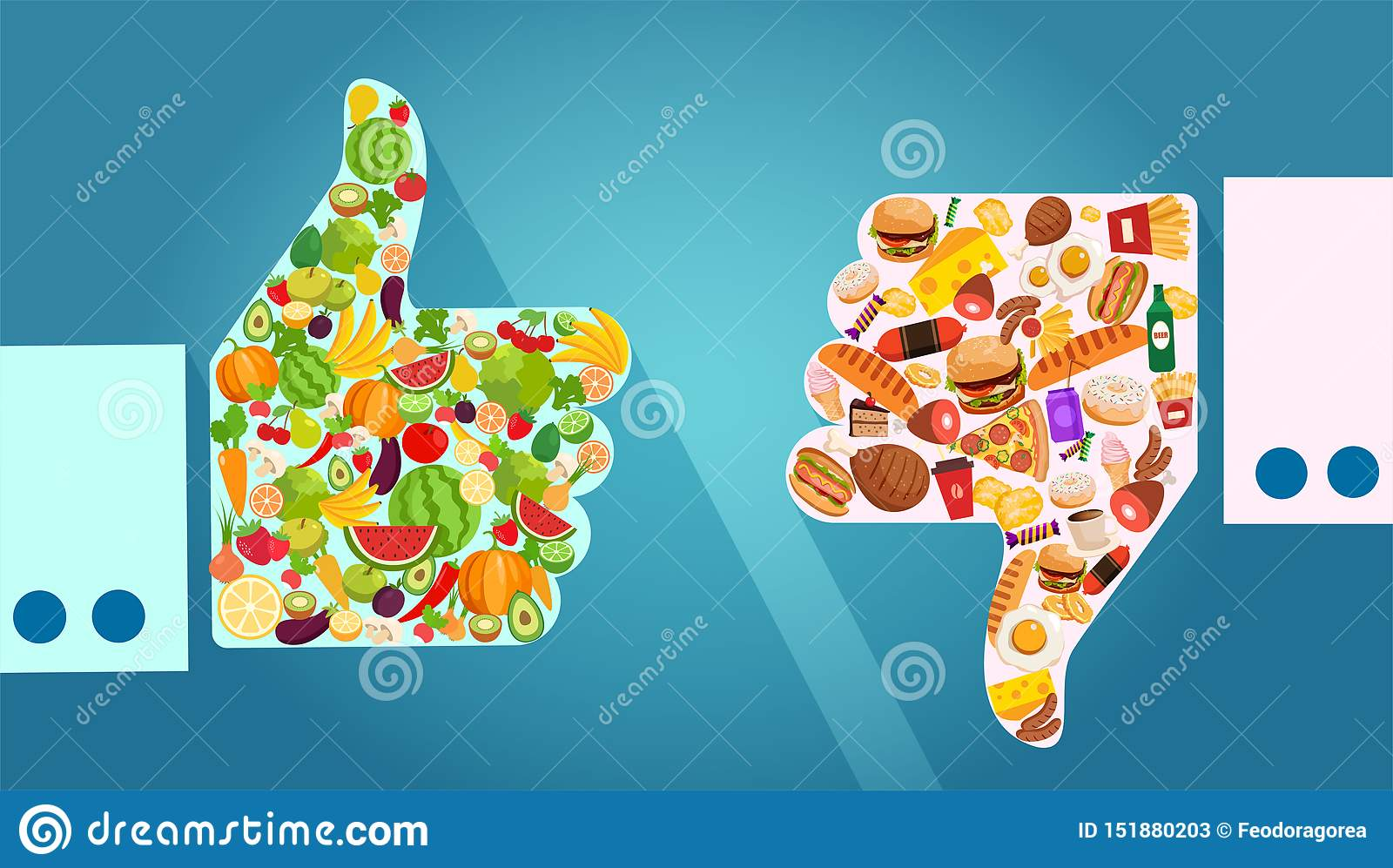 Vector Of Vegetables Fruits And Unhealthy Fast Food