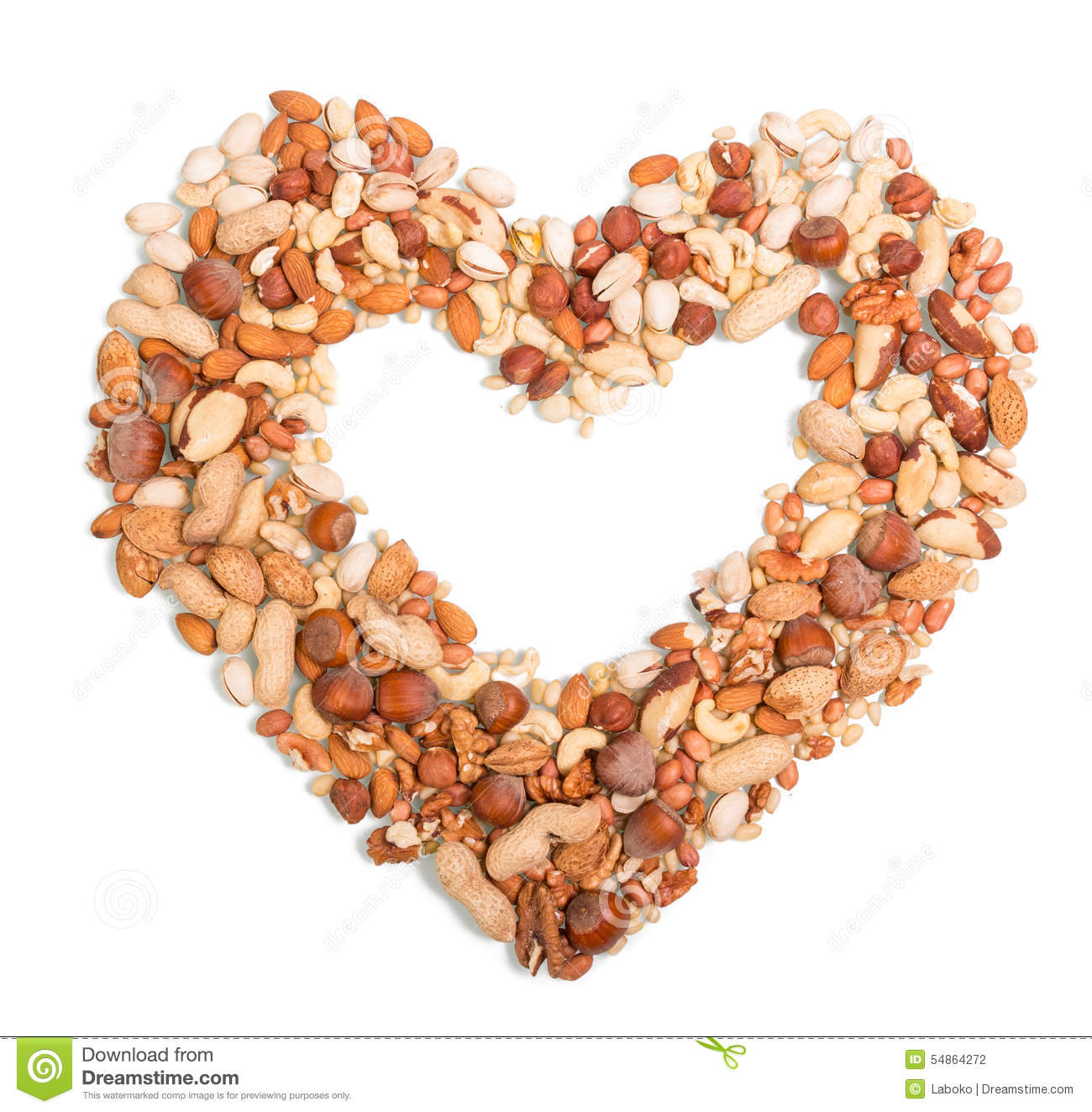 Nuts In The Shape Of Heart Stock Photo Image 54864272