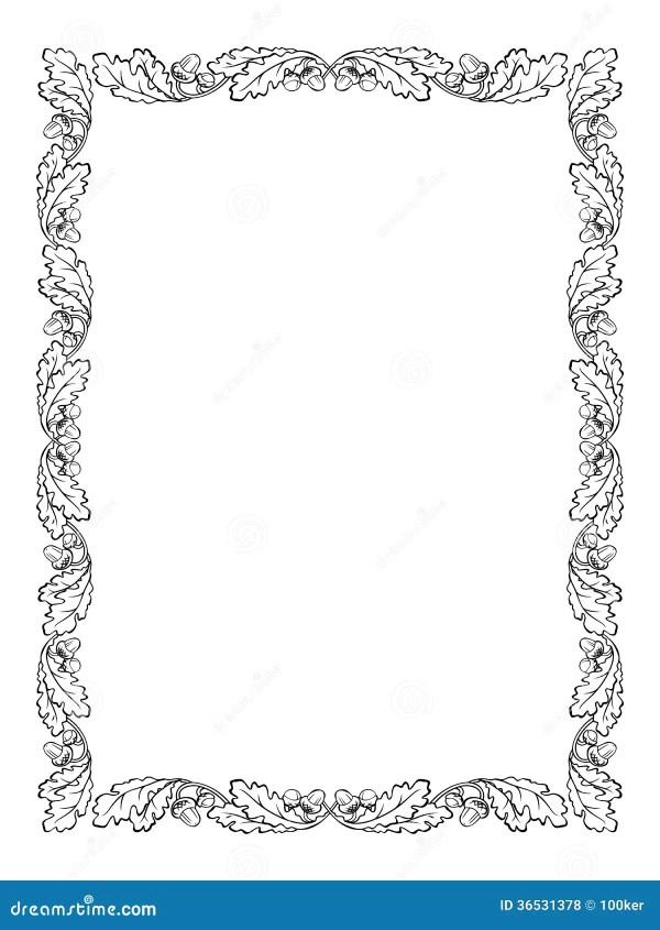 Oak Leaf Frame Black Silhouette Stock Vector Image 36531378