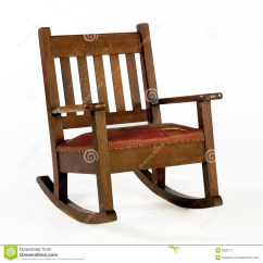 Oak Rocking Chair Plans Office Armless With Leather Cushion Editorial Photo