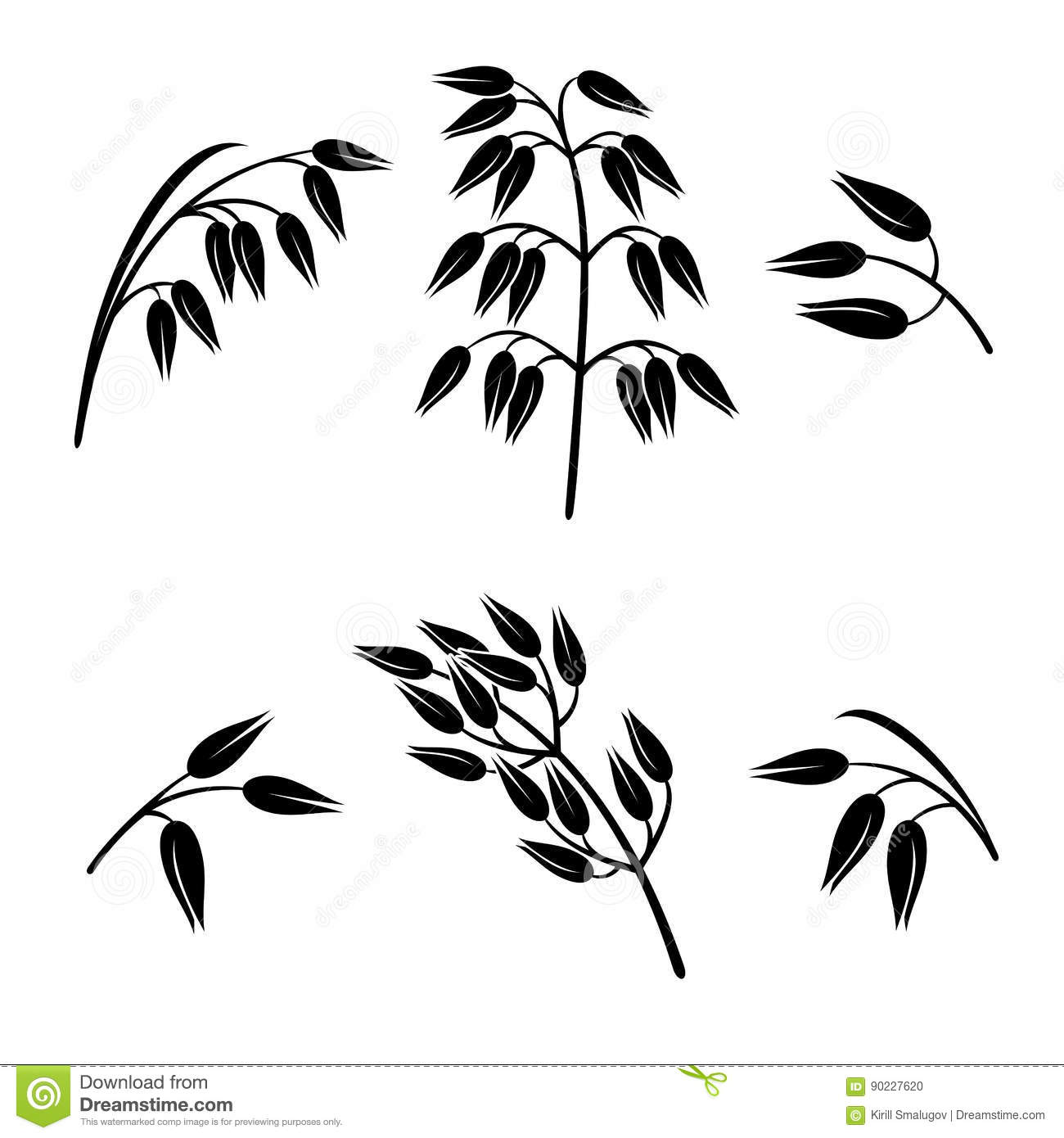 Oats Collection Set Vector Stock Vector