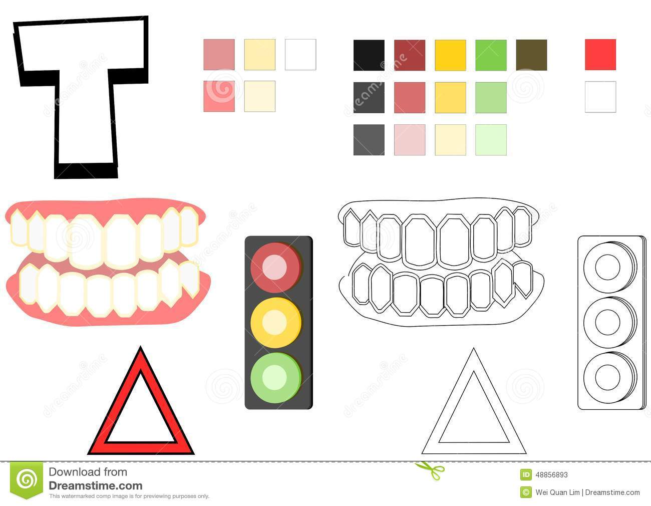 Objects Spelled With Letter T Drawing Template For