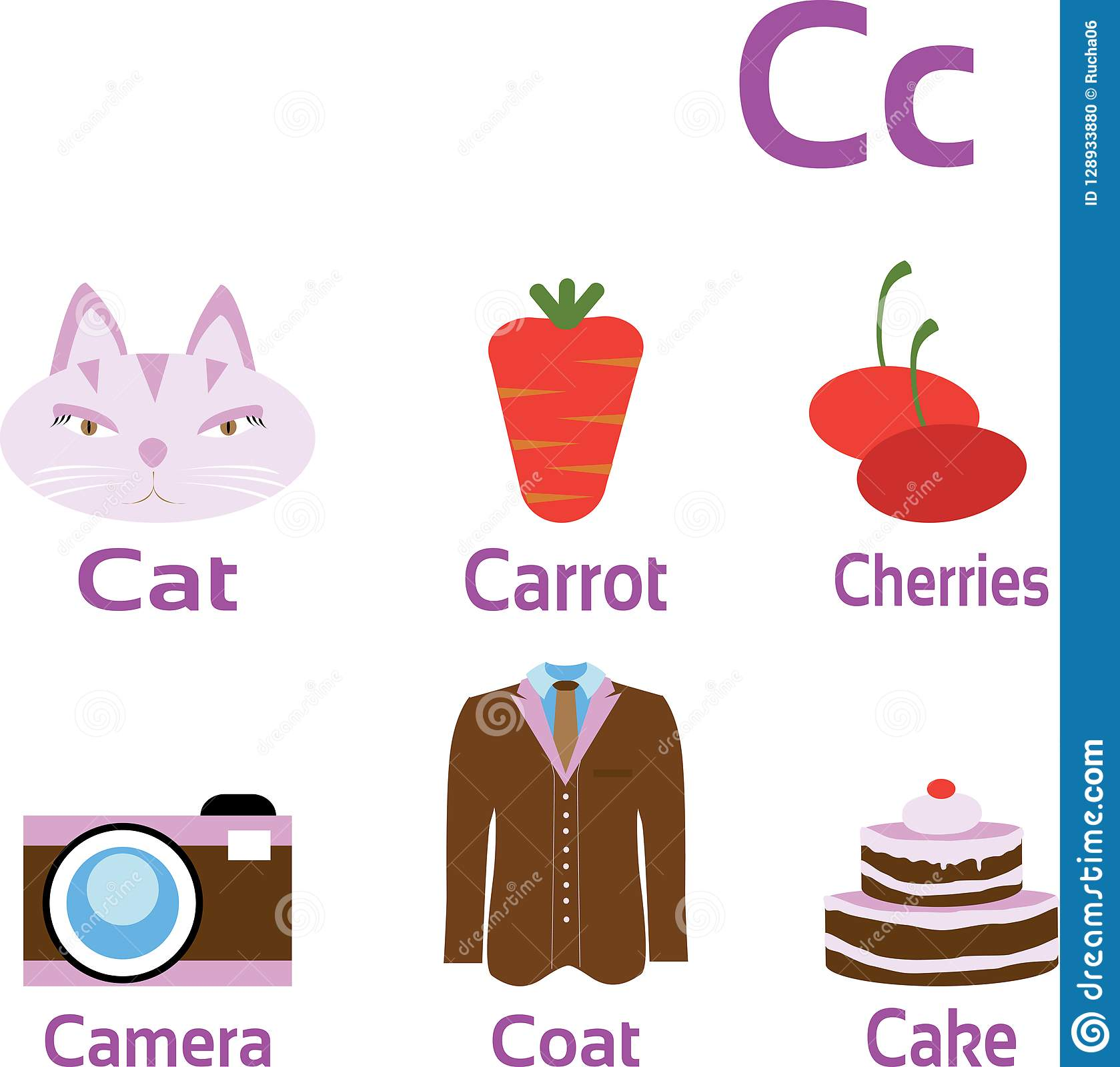Objects And Things Starting With Letter C Stock Vector