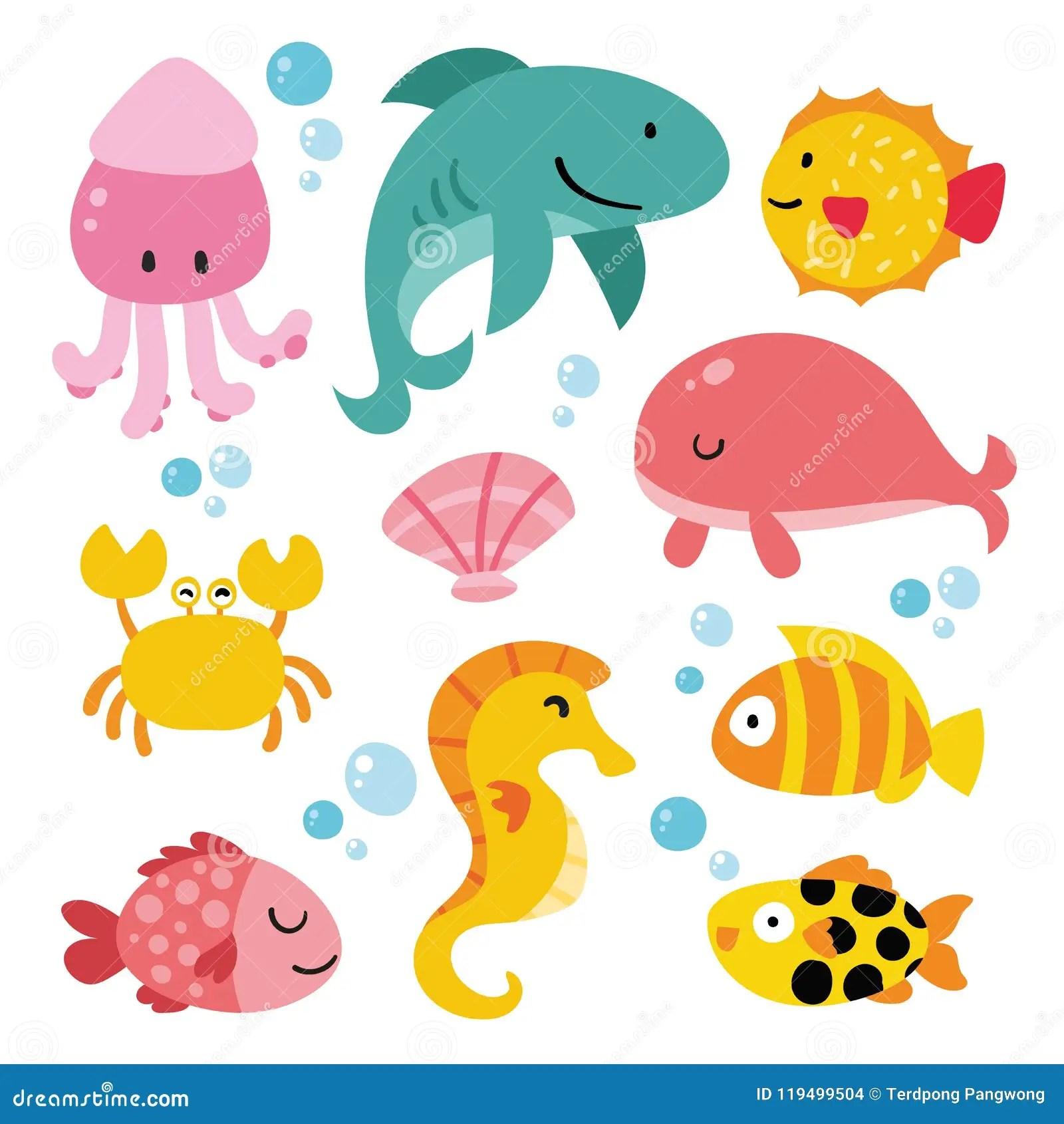 Ocean Animals Collection Design Stock Vector