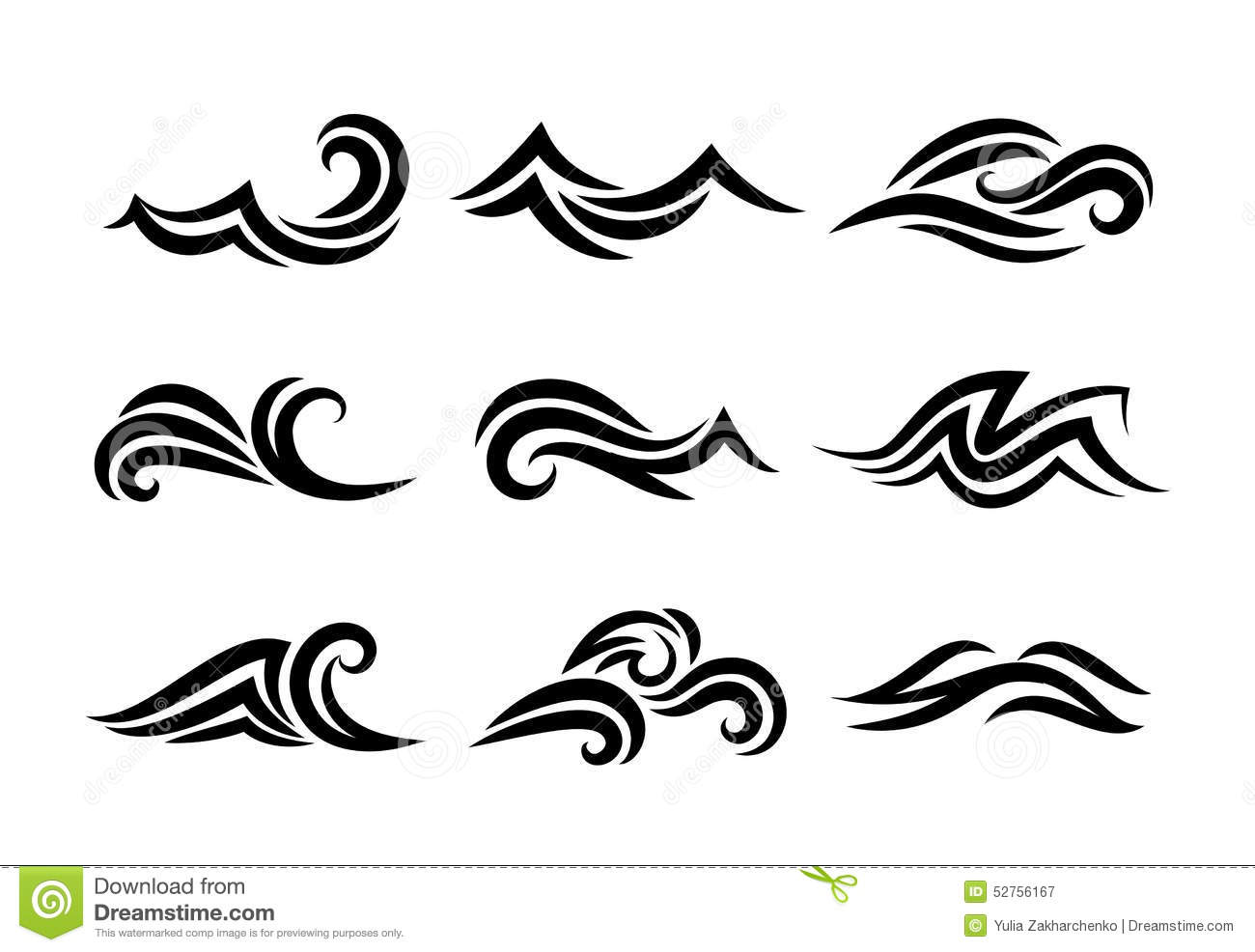 Ocean Hand Drawn Waves Isolated On White Stock Vector