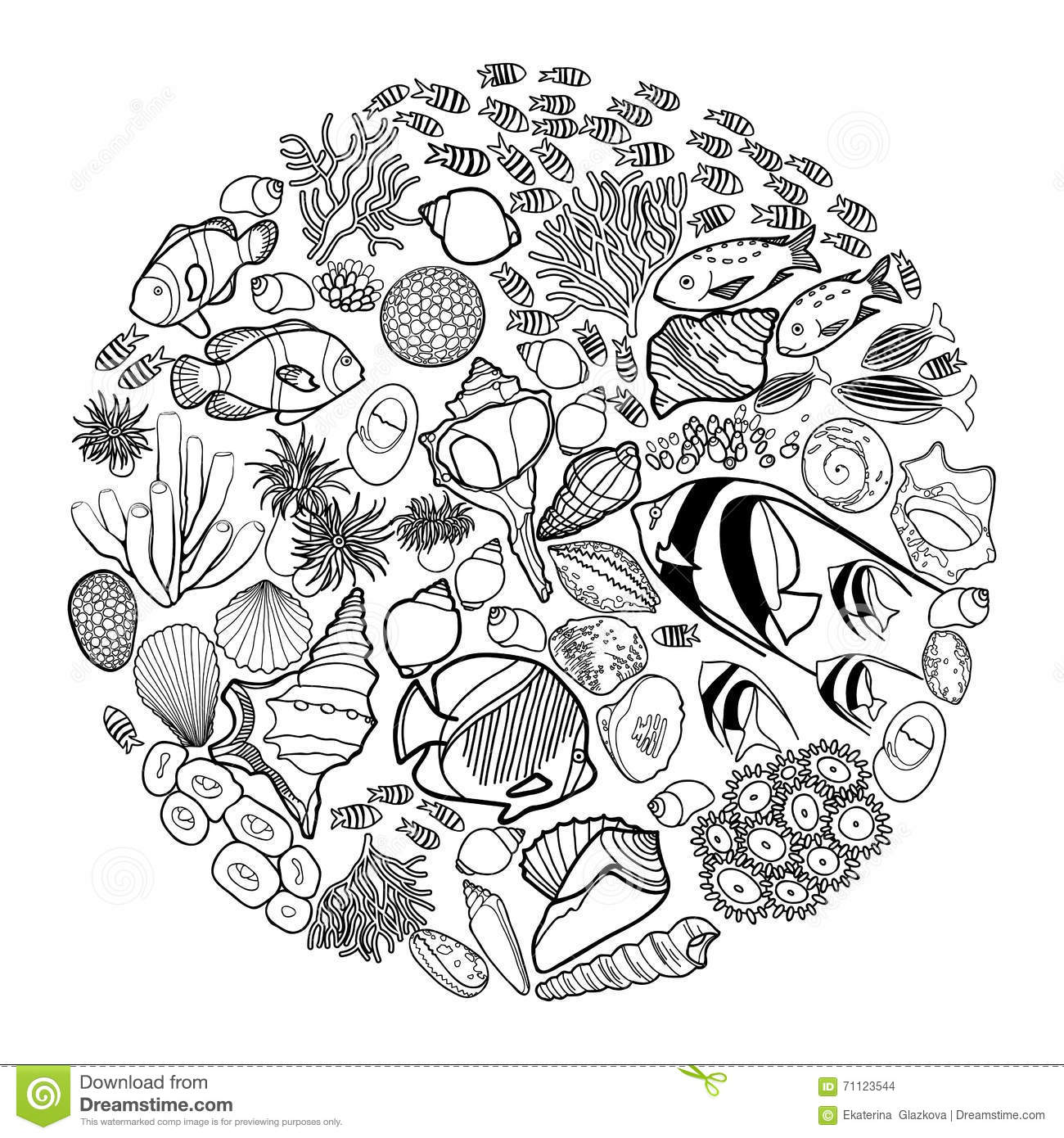 Ocean Life In The Circle Shape Stock Vector