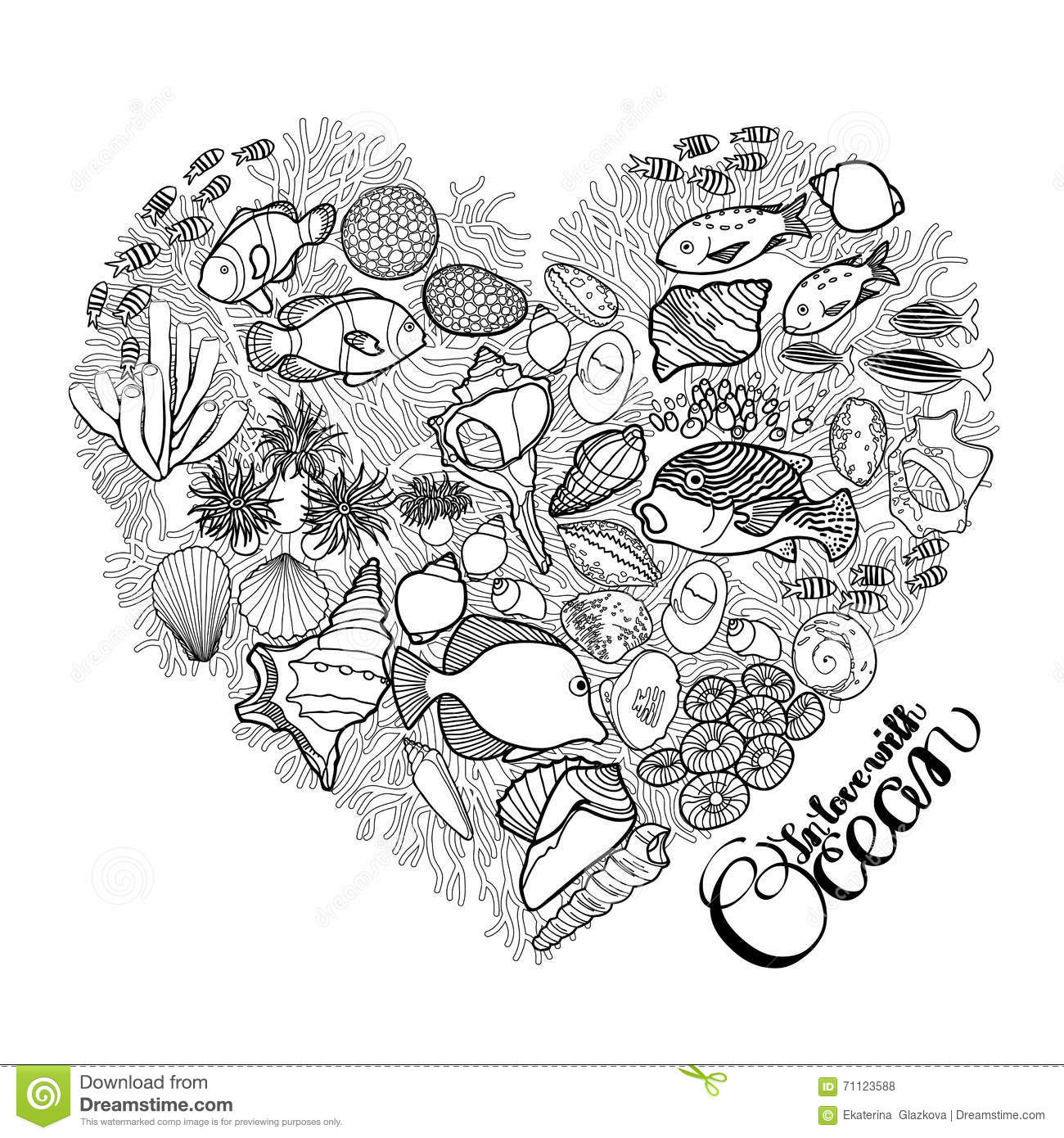 Ocean Life In The Shape Of Heart Stock Vector