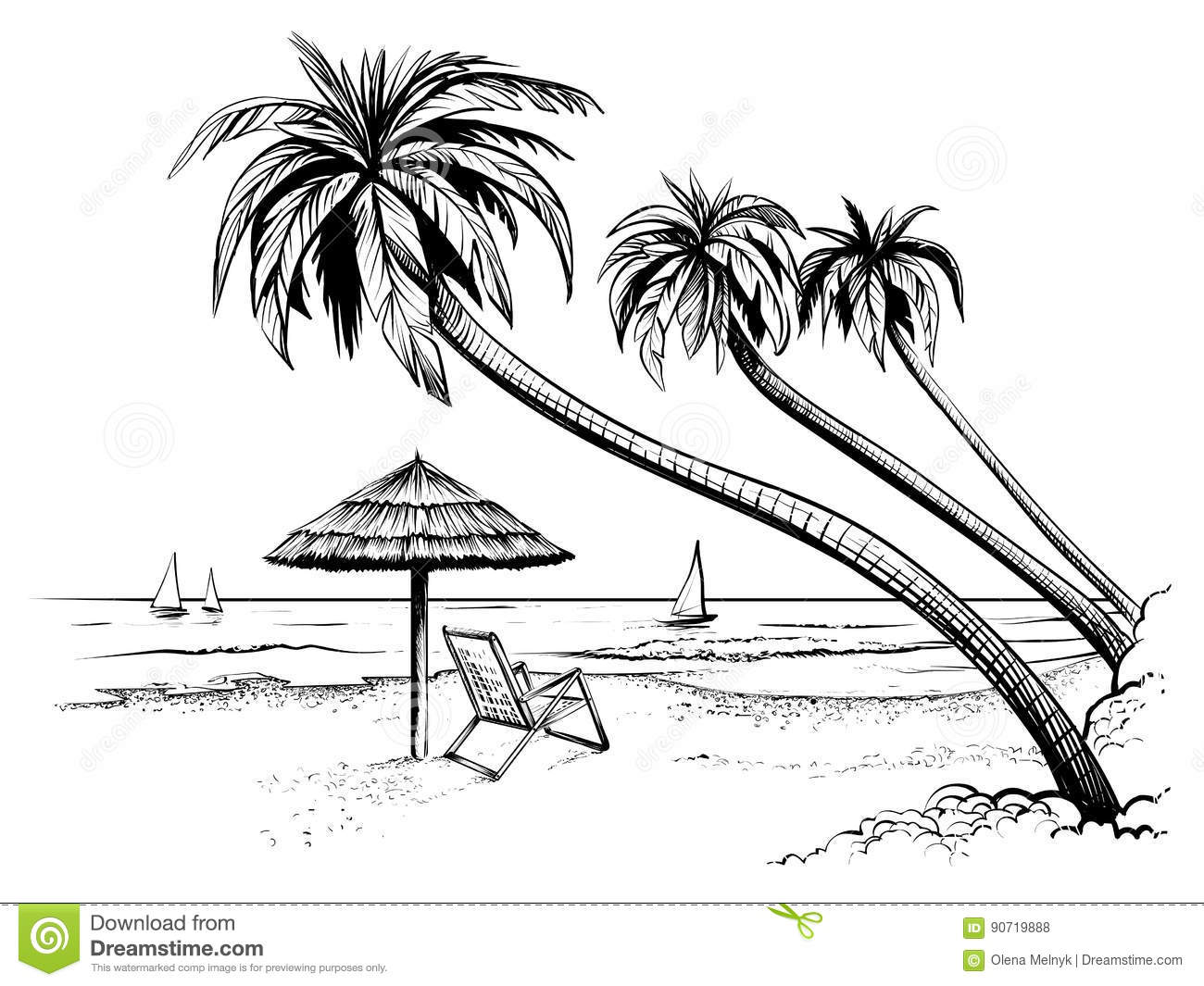 Ocean Or Sea Beach With Palms Umbrella Chaise Longue And