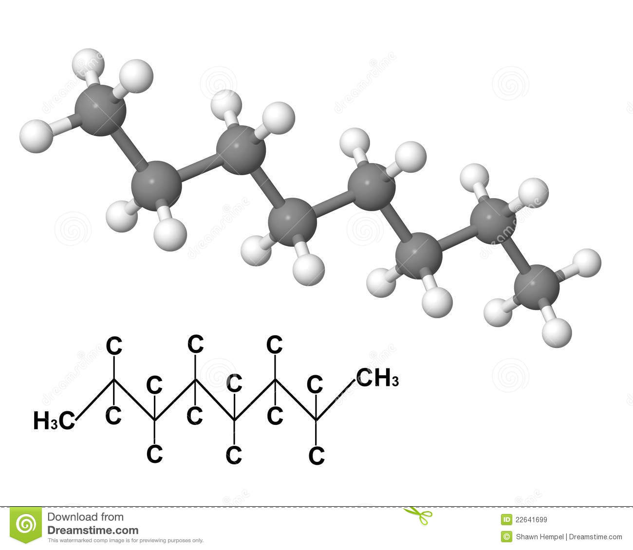 Octane Molecule With Chemical Formula Royalty Free Stock Images