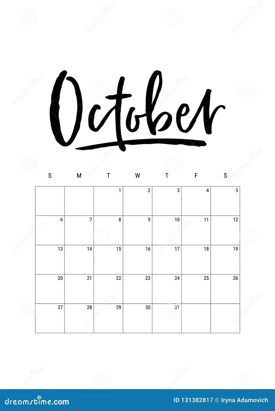 October Calendar Planner Week Starts On Sunday