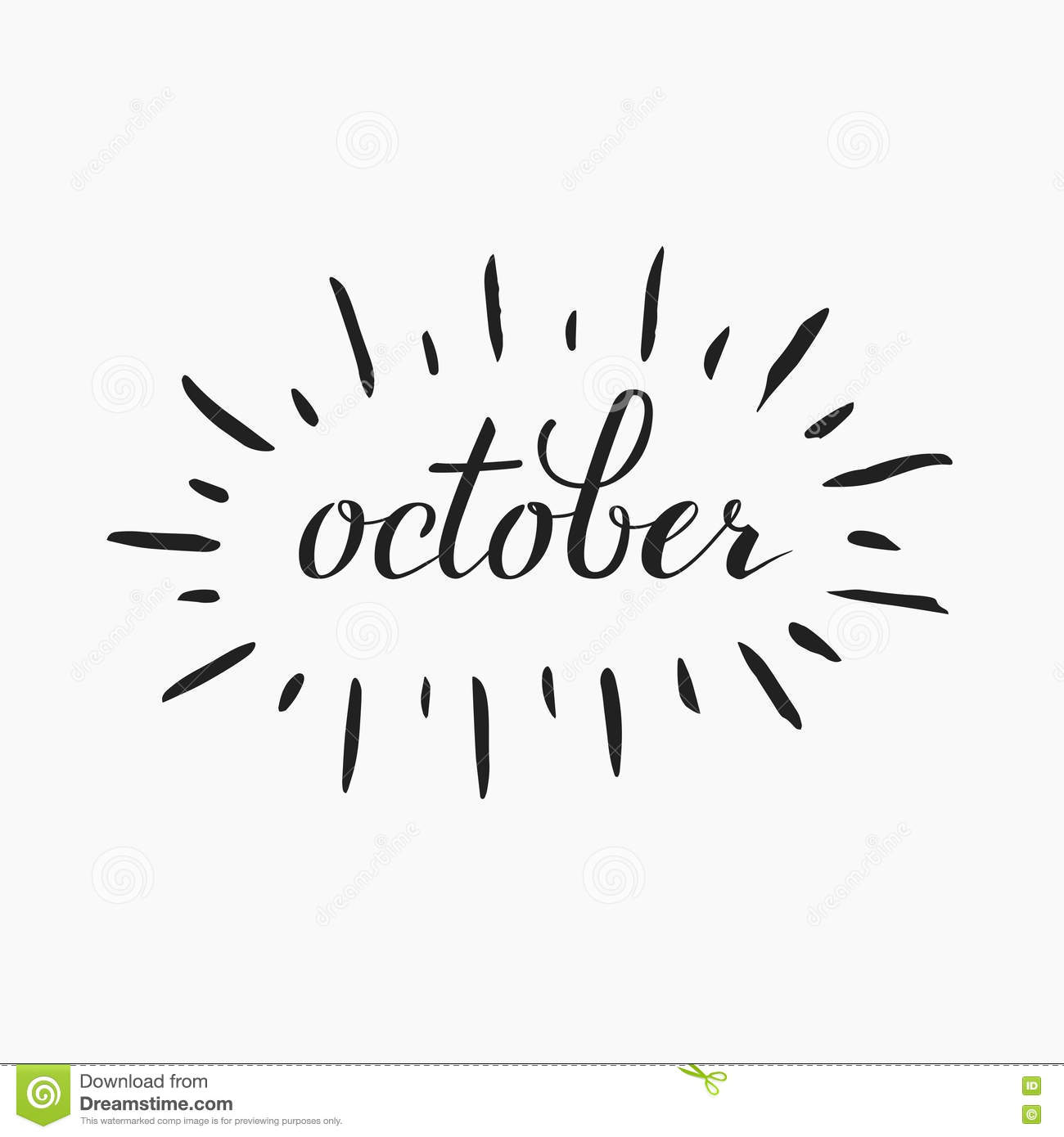 October Lettering Stock Vector Image Of December