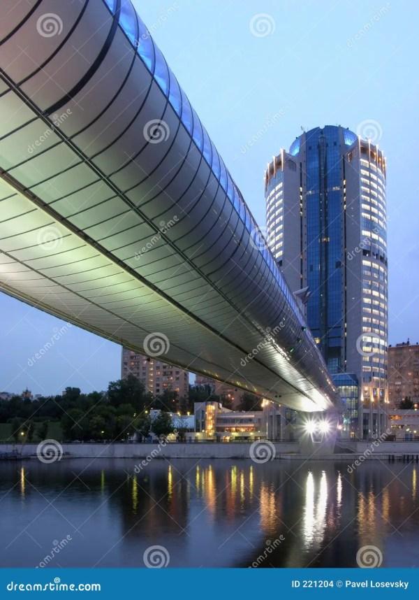 Office Building With Bridge Night Stock