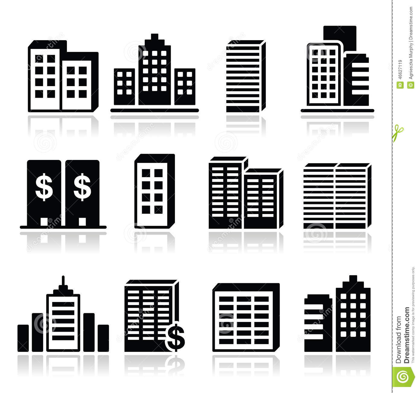 Office Buildings, Business Center Icons Set Stock