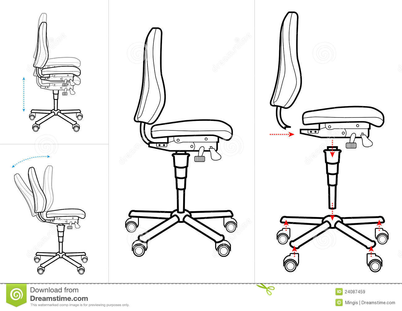 chair design standards oval dining chairs office drawing stock vector illustration of lift