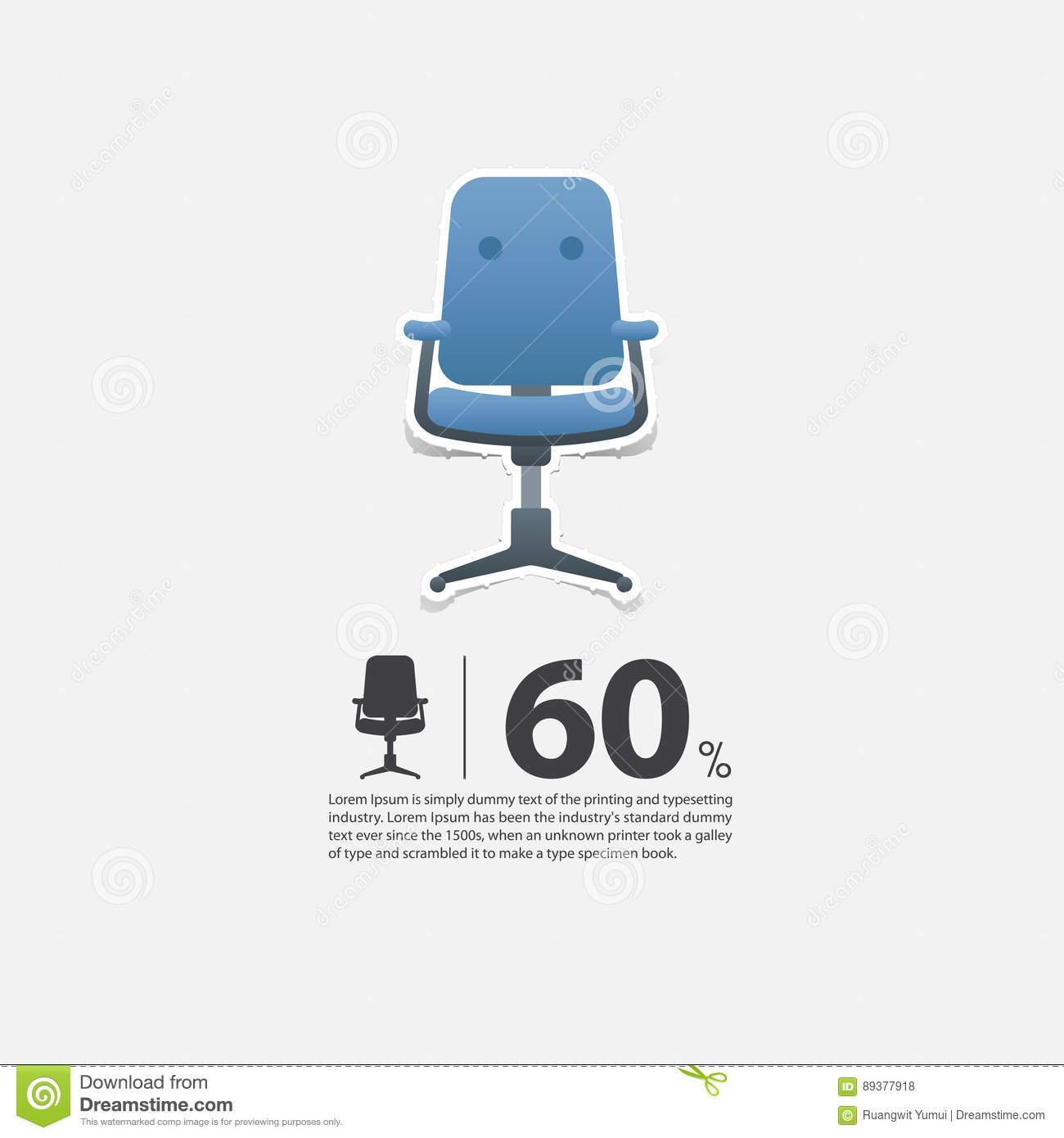 office chair for sale wood floor protectors legs in flat design living room interior minimal icon furniture poster blue on white background