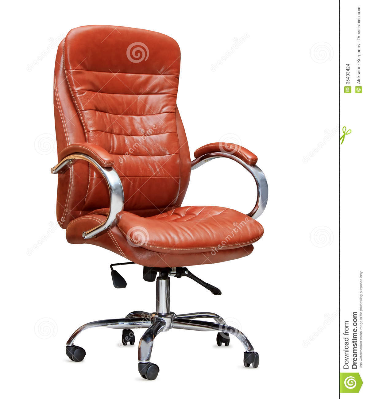 Orange Leather Chair The Office Chair From Orange Leather Isolated Stock